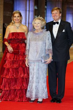 Queen Beatrix and Prince Willem-Alexander and Princess Maxima arrive for a dinner with members of the Royal Family at the Rijksmuseum in Amsterdam.