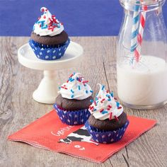 4th of July Chocolate Cupcake Bites. Small bite, no guilt treats to celebrate the holiday. Gluten and diary free.