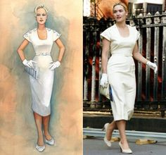 This look by designer Albert Wolsky shows Kate Winslet's character in 'Revolutionary Road.'  The subdued 1950s tones run counter to the roiling emotions driving Frank and April Wheeler (Leonardo DiCaprio and Kate Winslet).