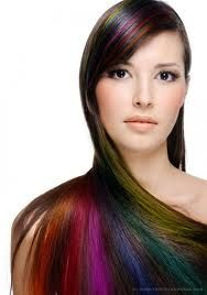Rainbow hair... Such a cool idea!! Wish I could do this.