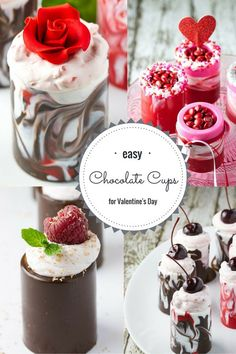 Chocolate Cups with Strawberry Mousse |  So simple you won't believe it!! #ValentinesDay