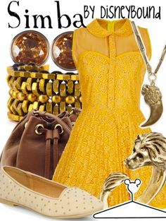 """Simba"" ~ This festive Summer outfit was inspired by Disney's The Lion King. Designed by Leslie Kay or also known as the designer of Disneybound outfits. Can be found on Polyvore or her personal shop or tumblr account."