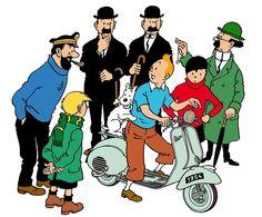 Tintin & his motorbike! Haddock Tintin, Tin Tin Cartoon, Captain Haddock, Herge Tintin, Lucky Luke, Ligne Claire, Fox Terriers, Cartoon Sketches, Amazing Adventures