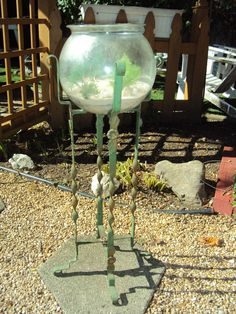 Vintage Antique Art Deco Fish Bowl Stand Aquarium | eBay