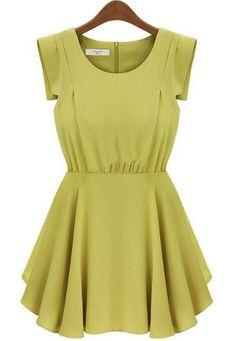Green Short Sleeve Back Zipper Pleated Waist Dress US$24.26