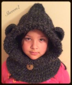 Bear Cowl in Charcoal (Toddler, Child, and adult size). by ShevonL on Etsy… Crochet Bear, Crochet Hats, Cowl, Pattern Design, Charcoal, Winter Hats, Trending Outfits, Children, Handmade Gifts
