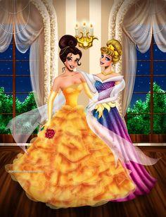 Belle and Aurora at a ball by Mareishon on DeviantArt