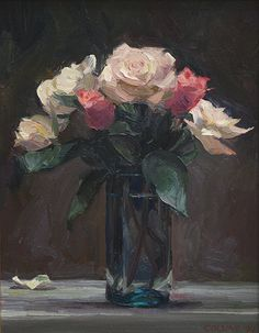 Jacob Collins, Pink And Cream Roses, Oil on Canvas, 18 x 14 inches, 1994