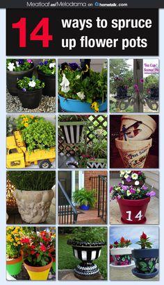 14 ways to spruce up flower pots Idea Box by Dee M 14 DIY Flower Pot Ideas Garden Trees, Garden Planters, Lawn And Garden, Garden Crafts, Garden Projects, Diy Flowers, Flower Pots, Pinterest Garden, Clay Pot Crafts