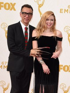 Fred Armisen appears to be channeling his inner Freddy Krueger as he poses with Natasha Lyonne on the Emmy Awards red carpet.  Valerie Macon, AFP/Getty Images