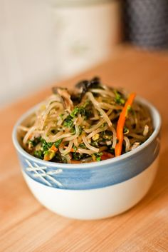 Korean cellophane noodles with veggies and beef = Japchae. After reading this recipe, I'm just going to buy it at the store...not an easy dish.