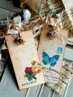 Antique Butterfly Tags - Blog with lots of beautiful tags