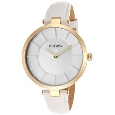 Bulova Women's White Genuine Leather and Dial ($130) ❤ liked on Polyvore featuring jewelry, watches, accessories, bracelets, relógios, white, leather watches, bulova watches, white bracelet and crown bracelet
