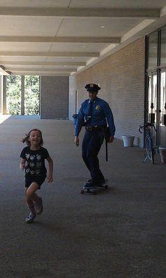 cop chasing kid