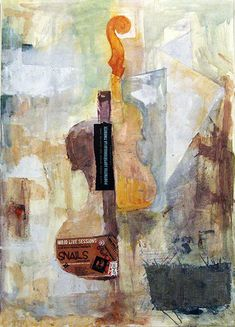 Fine Art Print Canvas Christmas Gift Of Original Cubist Oil Painting On Music Decor Abstract Mixed Media Violin Autographed Emanuel Ologeanu