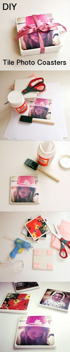 DIY Tile Photo Coasters diy craft crafts easy crafts diy ideas diy crafts crafty diy decor craft decorations how to craft gifts tutorials Diy Christmas Gifts, Holiday Crafts, Homemade Christmas, Kids Christmas, Christmas Lights, Christmas Decor, Craft Gifts, Diy Gifts, Diy Projects To Try