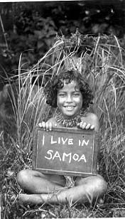 "Young American Samoan girl holding sign, ""I Live in Samoa"". 1940 Wayne A. Forde Photo Collection!  Download this image"