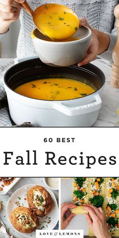 Warm up with these 60  fall recipes and dinner ideas! With cozy soups, creamy pastas, decadent desserts, and more, they include something to satisfying any fall craving. | Love and Lemons #fall #autumn #healthyrecipes #dinnerideas #vegetarian