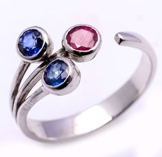 Ruby & Sapphire ring in 925 silver