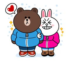 Brown and Cony are back, and this time they're cuddling up for winter! Cozy up next to the fireplace and warm your heart with these stickers! Cute Couple Cartoon, Cute Couple Art, Cute Love Cartoons, Cute Couples, Cute Panda Wallpaper, Bear Wallpaper, Cony Brown, Brown Bear, Panda Wallpapers