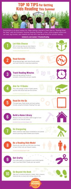 Here are top 10 tips for getting kids to read this summer—from keeping a reading log to venturing outside to getting crafty. Click to find more tips for parents and to register kids for the Scholastic Summer Reading Challenge. #summerreading