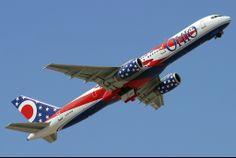 america west airlines Boeing 757 Ohio flag.