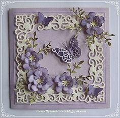 Elly's Card Corner Fabulous Phlox die coloured with Pan Pastels 3d Cards, Paper Cards, Butterfly Cards, Flower Cards, Heartfelt Creations, Card Making Designs, Purple Cards, Spellbinders Cards, Beautiful Handmade Cards