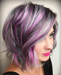 hair highlights pink 60 Messy Bob Hairstyles for Your Trendy Casual Looks Gray Bob With Purple Highlights Purple Grey Hair, Purple Hair Highlights, Ombre Hair Color, Cool Hair Color, Hair Colors, Peekaboo Highlights, Violet Hair, Burgundy Hair, Brown Hair