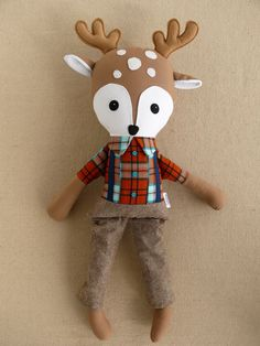 Etsy Transaction - Reserved for Anna - Fabric Doll Rag Doll Stuffed Boy Deer Doll in Orange and Blue Plaid Shirt and S...