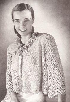 Vintage Antique Bed Jacket Sweater Crochet pattern GoodMorning