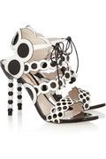 SOPHIA WEBSTER Yayoi kusama circle disc polkadot black and white patent and leather sandals
