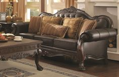 victorian style leather furniture | Italy Victorian Leather Sofa Closeup