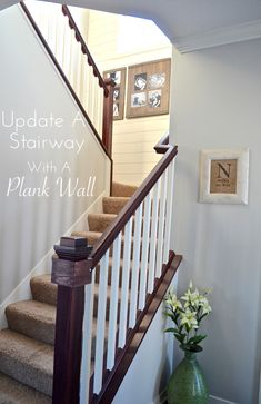 DIY Plank Wall - Give an update to your stairway, or any wall, with an easy DIY plank wall! Our stairway was home to a lot of random black ph… Stairway Gallery Wall, Kitchen Renovation Inspiration, Diy Trellis, Wood Stairs, Plank Walls, Staircase Design, Staircase Landing, Diy Bed, Your Turn
