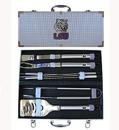 An 8-pc BBQ set that includes: Spatula with knife edge, grill fork, tongs, basting brush & 4 skewers Aluminum carrying case keeps contents organized.