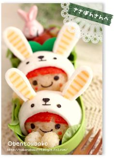 Rabbit Hood Bento for Easter Japanese Bento Box, Japanese Food Art, Cute Bento Boxes, Bento Box Lunch, Bento Kids, Food Art Bento, Kawaii Bento, Childrens Meals, Sushi Art