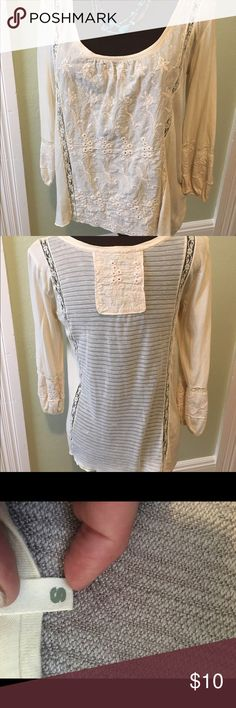 Boho cream colored pheasant style top. Really cute top with eyelet embroidery on front and sheer fabric on back. Tiny Tops Blouses