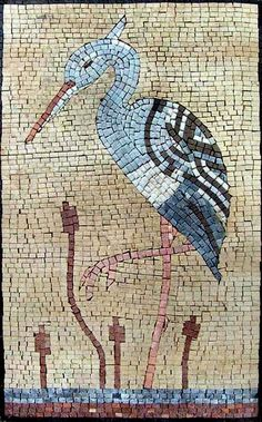 This is a handmade marble mosaic of a white heron on a lake. It is composed of…