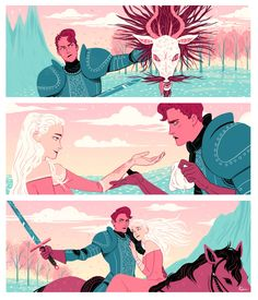 "meexart: "" We had to illustrate a blind date in sequential class and what better than a first meeting between a princess and her gender fluid knight? """