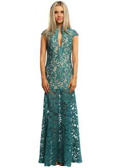 Jarlo Samantha Teal Lace Plunge Oriental Maxi Dress