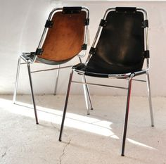 CHARLOTTE PERRIAND, LEATHER CHAIRS  for the les arcs ski resort she helped design with le corbusier in the early 1960s.