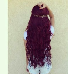 Long dark red hair, burgundy hair, red hair, curly dark red hair