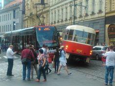Quarrel of old and new tramway, Prague Prague Transport, Vienna, Old And New, Transportation, Magic, World, Pictures, Czech Republic, Prague