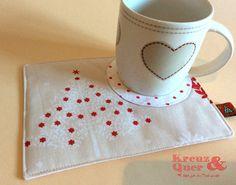 Platzsets - Mug Rug Weihnachten Tassenteppich Becherteppich - ein Designerstück von Kreuz_und_Quer bei DaWanda