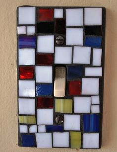 Stained Glass Mosaic Light Switch Plate Set Inspired by Mondrian - red, blue, yellow, white