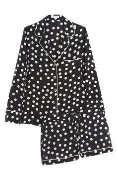 Silk polka dot pajama set. Long sleeved top with shorts!
