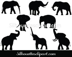 Elephant Silhouette Vector Graphics Download