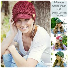 Crochet+Pattern+Hat+Pattern+Womens+Cross+by+SimplyMadeByErin,+$5.00