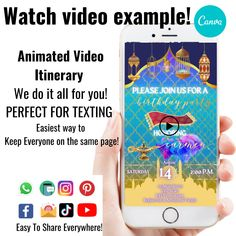 Moroccan Video Invitation, Moroccan Birthday Theme, Arabian Nights Invitation, Personalized Video Invitation with Music, Text/SMS Invite by Hostessy on Etsy Aladdin Birthday Party, Aladdin Party, Invite, Invitations, Add Music, Thank You For Purchasing, Editing Apps, Arabian Nights, Party Guests