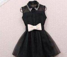 Pearl Rhinestone small lapel gauze dress small cute black dress wiv a bow to add… Mesh Dress, Belted Dress, Gauze Dress, Organza Dress, Chiffon Dress, Beaded Chiffon, Tulle, Bodycon Dress, Dresses For Teens