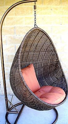 LARGE Outdoor Wicker Rattan Free Standing Hanging Egg Swing Chair Part 95